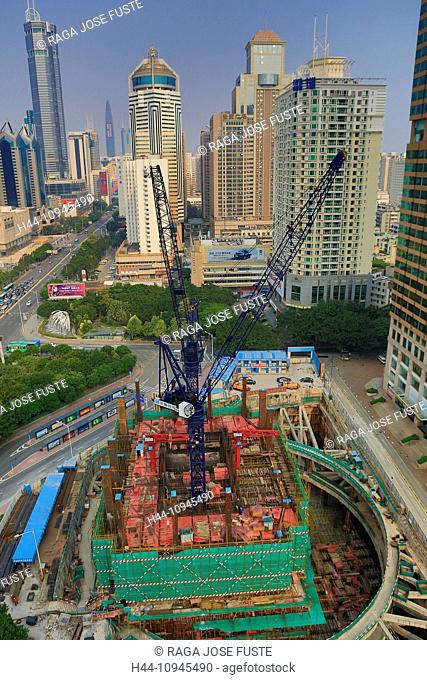 China, Shenzhen, City, Asia, Huaqiangbei Street, downtown, construction, architecture, big, building, center, construction, crane, crossing, downtown, new, road