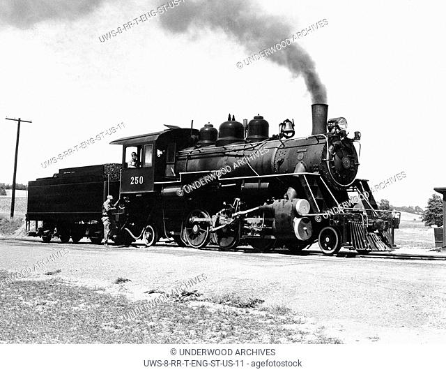 Kempton, Pennsylvania: 1963.The Gulf, Mobile and Northern Railroad engine #250 in service at the Wanamaker, Kempton and Southern Railroad Line