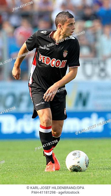 Monaco's player Jessy Pi in action during the soccer test match between FC Augsburg and AS Monaco in Memmingen, Germany, 20 July 2013