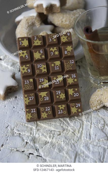 A bar of milk chocolate as an advent calender