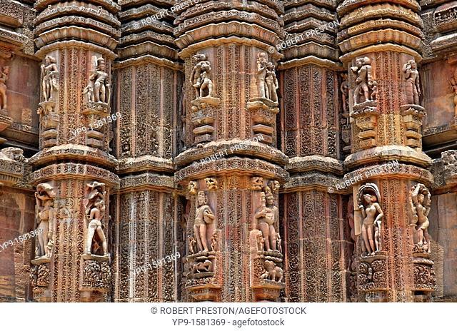 Sculptural detail at the Hindu Temple of Rajrani Mandir, Bhubaneswar, Orissa, India