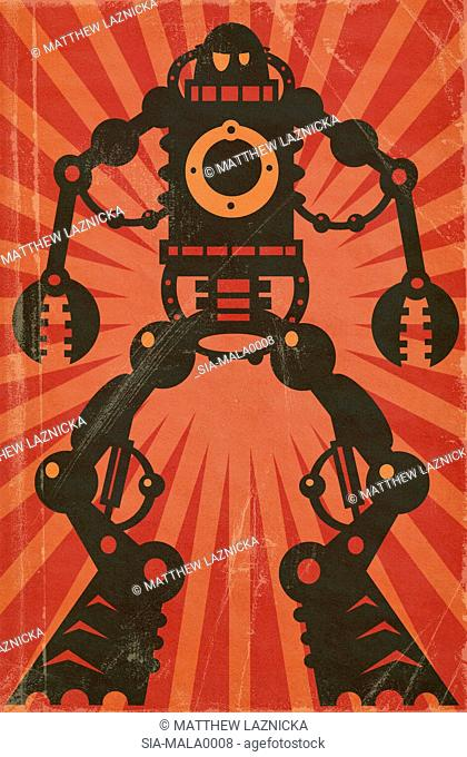 Anthropomorphic machine character on red background