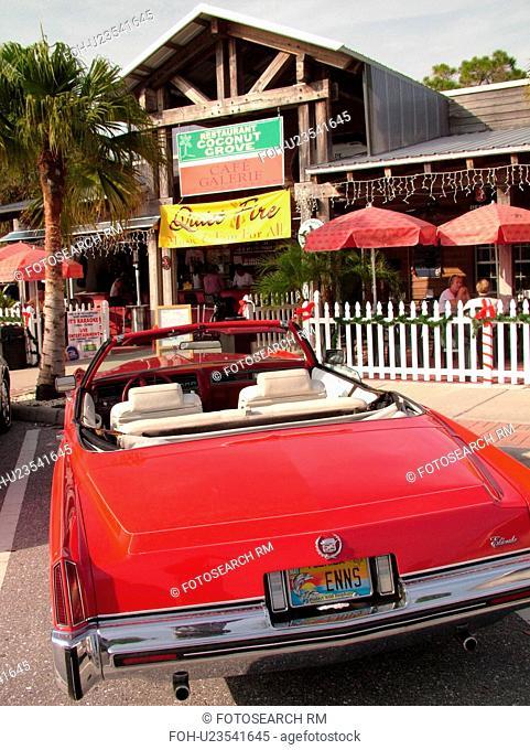 Venice, FL, Florida, Englewood, Coconut Grove Restaurant, shops, old red Elderado Cadillac convertible
