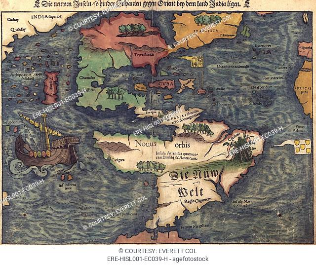 1550 Swiss map of newly discovered Western Hemisphere. The Caribbean Sea is disproportionately large, most of North America is still unknown