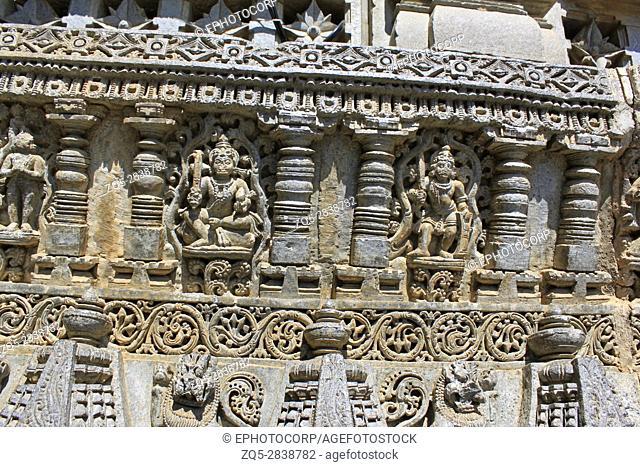 Detailed stone sculptures on the shrine wall of Chennakesava Temple, Hoysala Architecture , Somanathpur, Karnataka, India