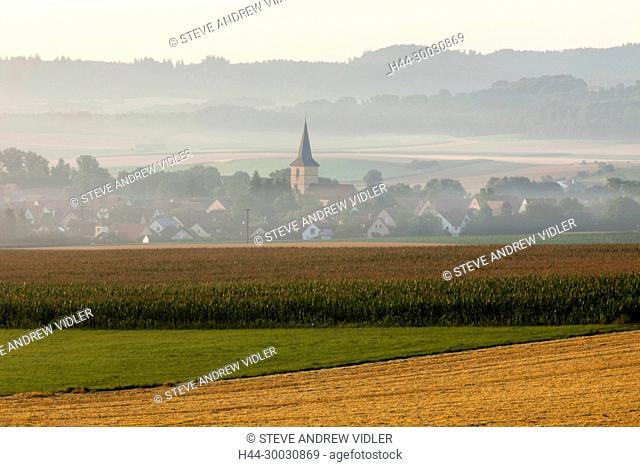 Germany, Bavaria, Romantic Road, Rural Scene near Rothenburg ob der Tauber