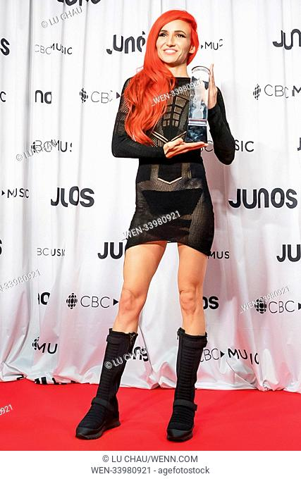 2018 JUNO Awards, held at the Rogers Arena in Vancouver, Canada. Featuring: Lights Where: Vancouver, British Columbia, Canada When: 25 Mar 2018 Credit: Lu...