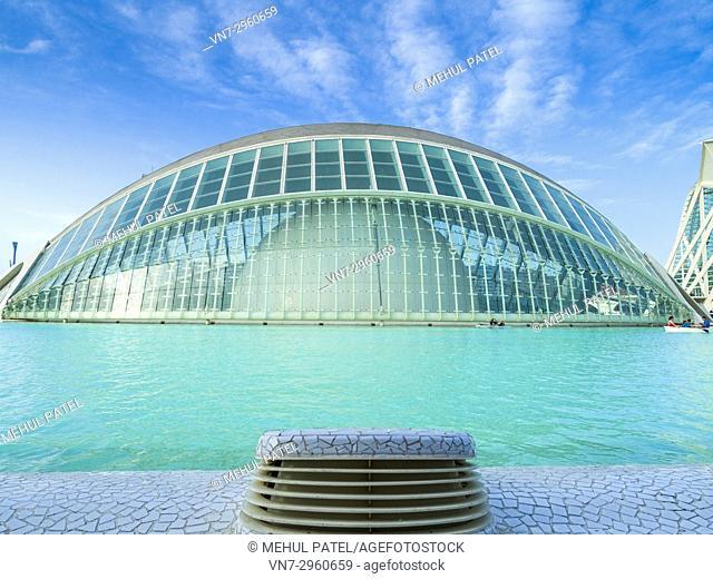 The Hemisferic in the City of Arts and Sciences (La Ciutat de les Arts i les Ciències) complex, Valencia, Spain, Europe. The Hemisferic is a large format cinema...