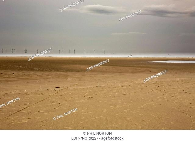 Wales, Denbighshire, Prestatyn, A view from the beach to North Holyle Wind Farm on the horizon