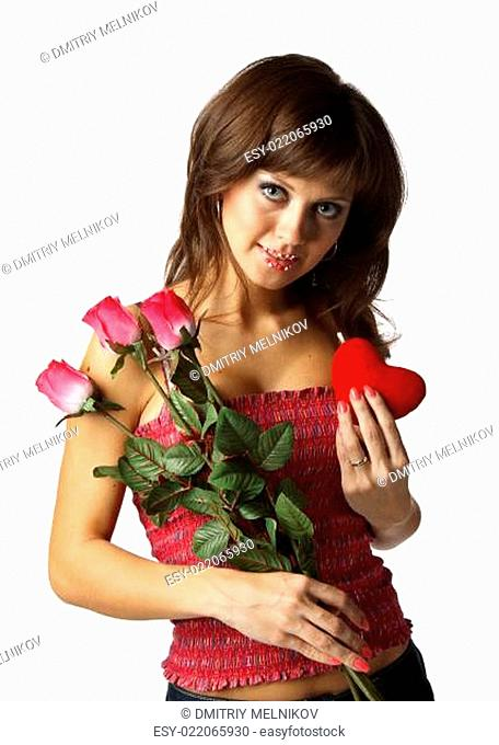 Girl with red heart and roses
