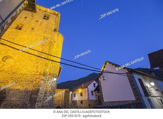 Romanesque church in Isaba village Navarra Spain Twilight