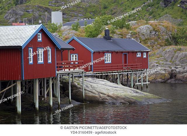 Fishermen's houses, Sørvågen, Moskenesøya island, Lofoten, Nordland county, Norway
