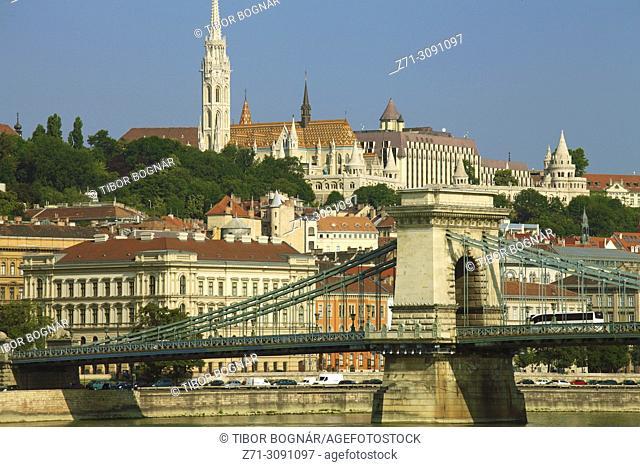Hungary, Budapest, Castle District, skyline, Chain Bridge, Danube River,
