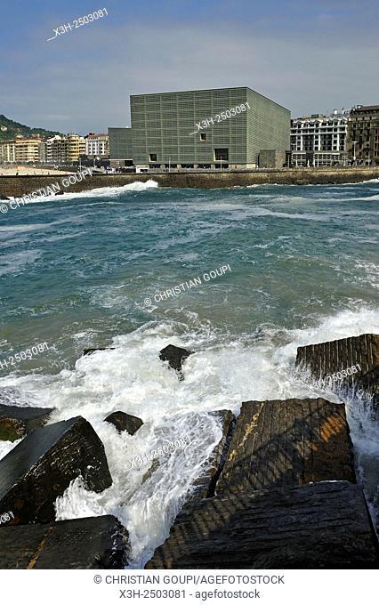Urumea river estuary and Kursaal Congress Centre and Auditorium by Spanish architect Rafael Moneo, San Sebastian, Bay of Biscay, province of Gipuzkoa