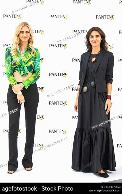 Italian influencer Chiara Ferragni testimonial of the new spot Pantene Estate and Valeria Consorte Marketing Director Procter and Gamble during the Pantene...