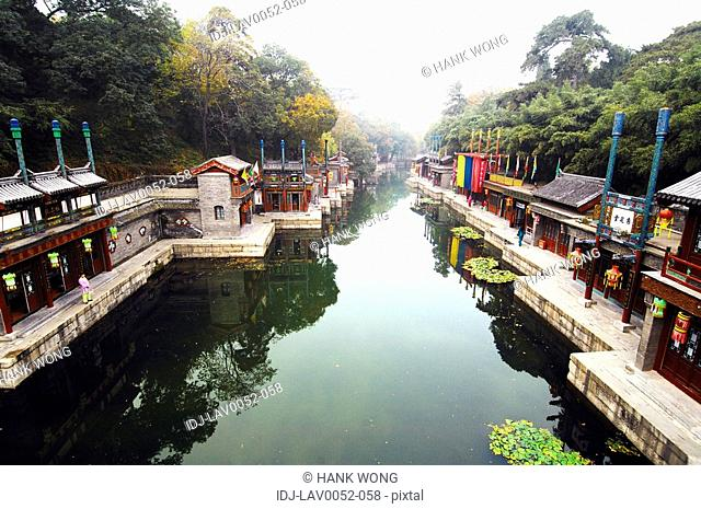Buildings at the lakeside, Kunming Lake, Summer Palace, Beijing, China