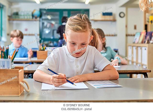 Schoolgirl writing in classroom lesson in primary school