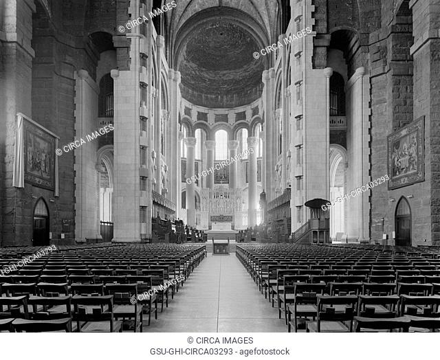 Interior View, Cathedral of St. John the Divine, New York City, New York, USA, Detroit Publishing Company, 1910