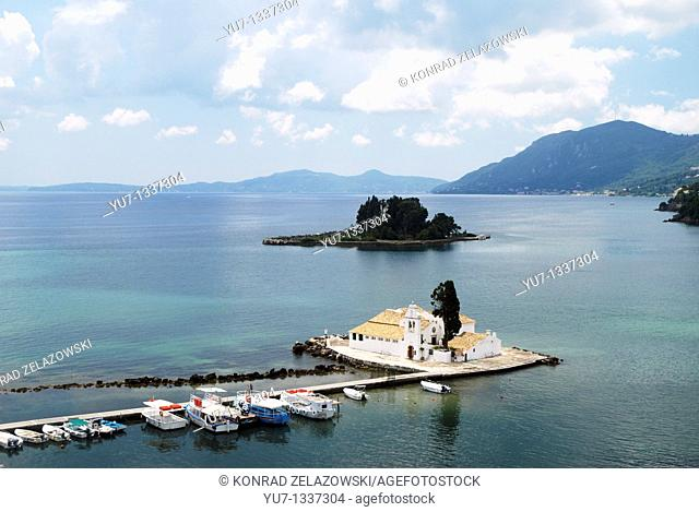 17th century Vlaheraina monastery and Pontikonisi Island Mouse Island seen from hills of Kanoni, Corfu Island, Greece