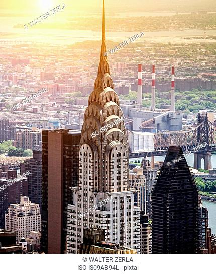 Aerial view of chrysler building New York, New York State, USA