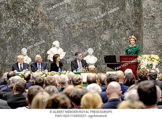 Queen Mathilde of Belgium at the Paleis der Academi?n in Brussel, on February 12, 2019, to be inaugurated as a protective honorary member of the Royal Academy...