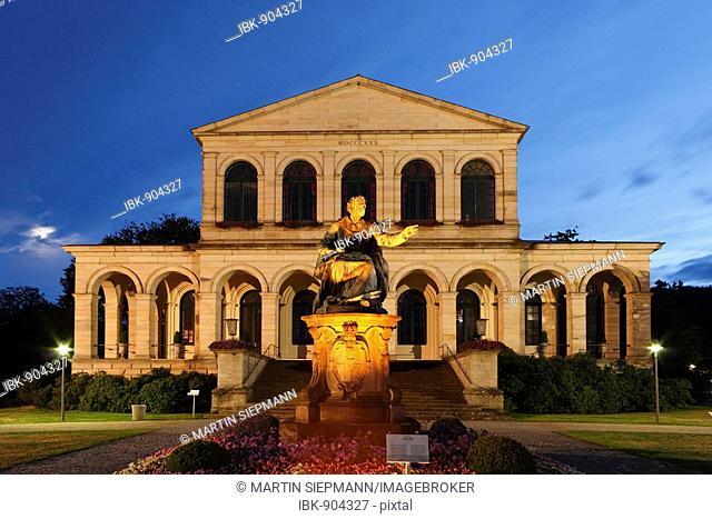 Illuminated monument to King Ludwig I. in front of the Kursaal building, Bad Brueckenau, Rhoen, Lower Franconia, Bavaria, Germany, Europe