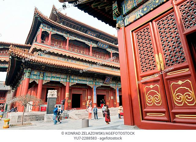 Wanfuge Hall in Yonghe Temple also known as Yonghe Lamasery or simply Lama Temple in Beijing, China