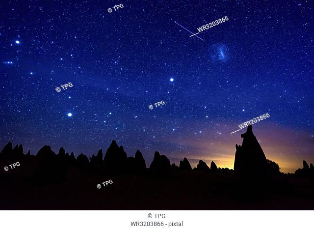 The Pinnacles Desert at the starry night