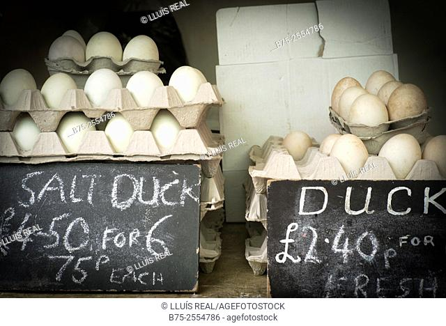 A pile of duck eggs with the price in a street market. London, England, UK