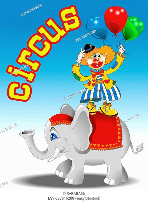 circus performers - clown with balloons and elephant vector