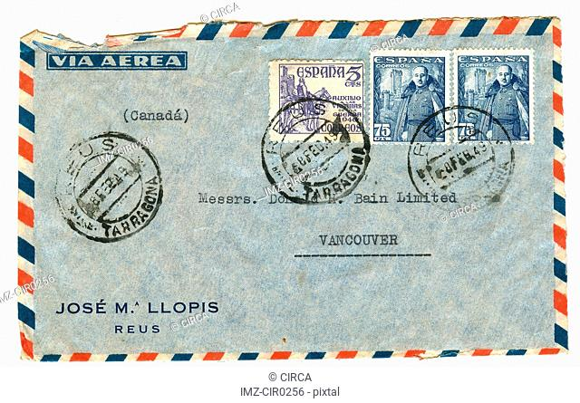 vintage airmail envelope with spanish stamps