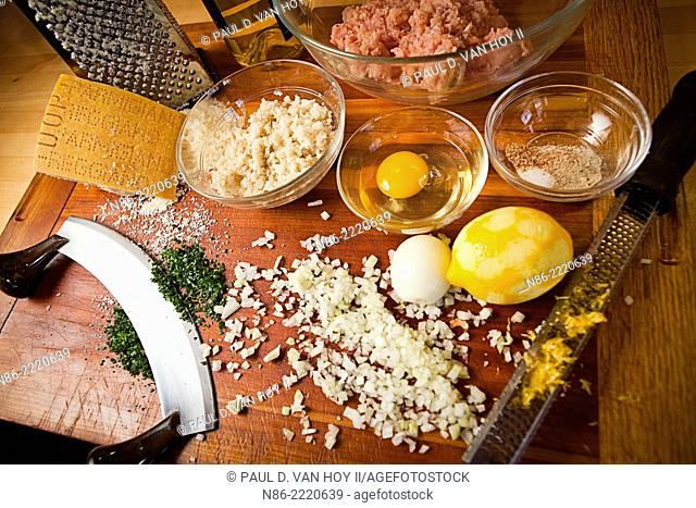 parmesan meatball preparation with eggs onions and parmesan