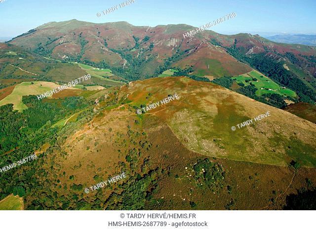 France, Pyrenees Atlantiques, surroundings of Bidarray (aerial view)