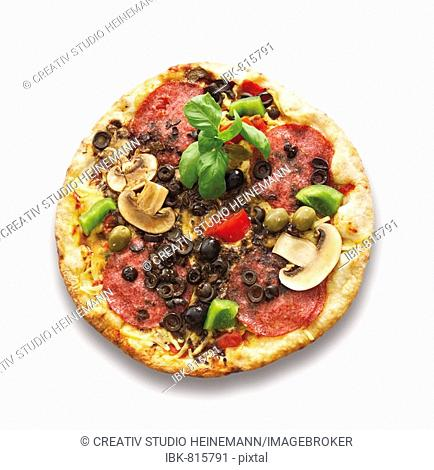 Pizza topped with salami, olives and mushrooms