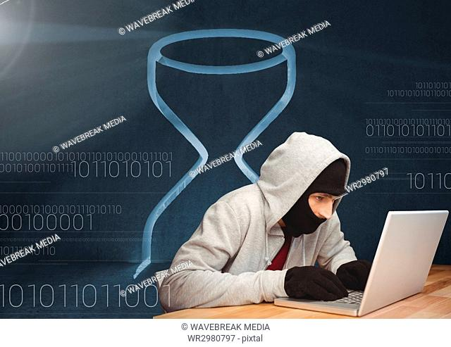 3D Hacker using a laptop in front of digital background with an hourglass