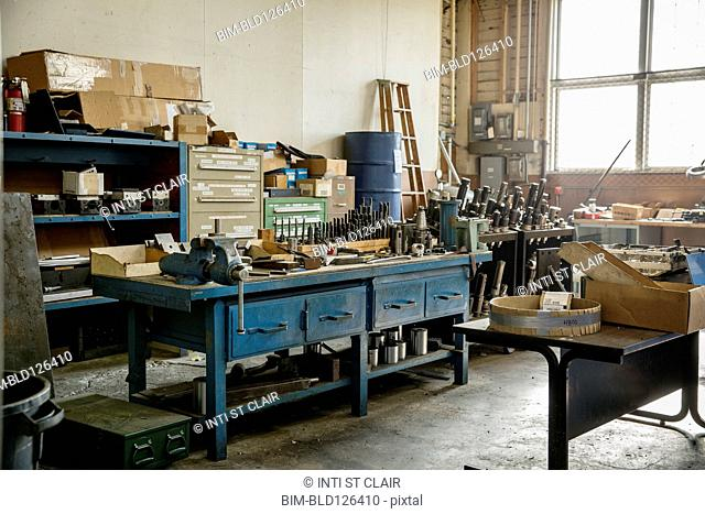Workbench and tools in metal shop