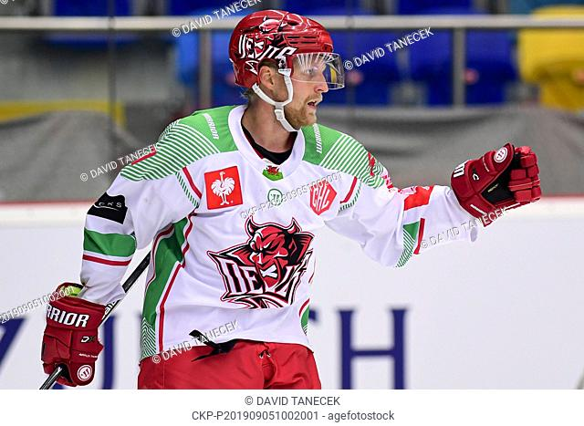 Hockey player MATIAS SOINTU celebrates a goal during the Champions Hockey League H group game: Hradec Kralove vs Cardiff Devils in Hradec Kralove