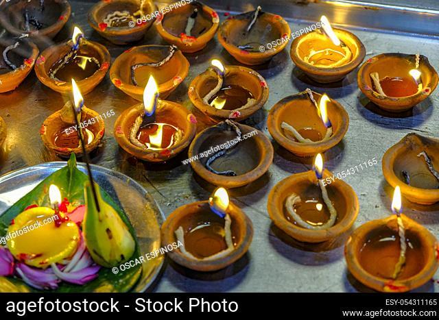 Detail of some candles in the Sri Siva Subramania Swami Kovil Temple in Colombo, Sri Lanka