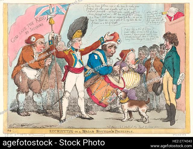 Recruiting on a Broab [sic] Bottom'd Principle , May 1806., May 1806. Creator: Thomas Rowlandson