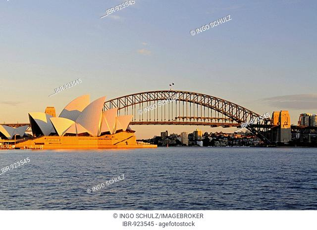 Sydney Opera House and Harbour Bridge at sunrise, Sydney, Australia