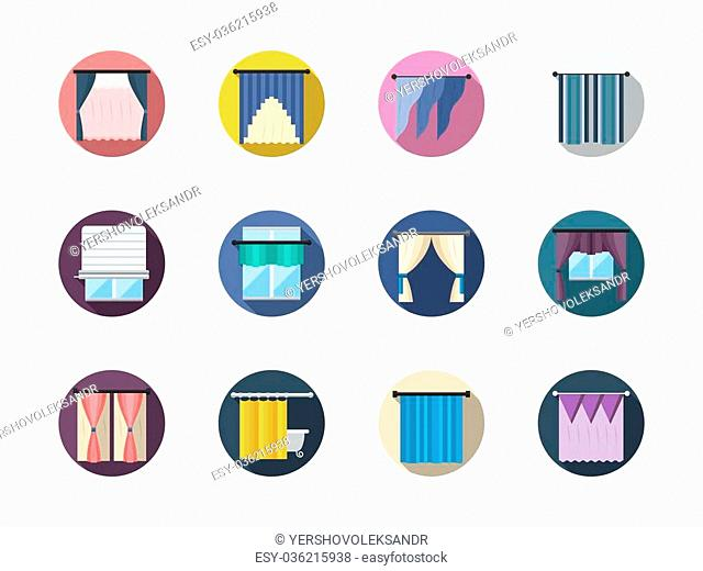 Various blinds and curtains, drapery, shades. Window treatments and decor. Room interior. Round flat color vector icons set