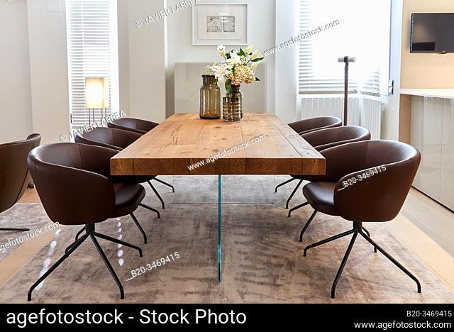 Dining table, Living room, Family house, Villa, Donostia, San Sebastian, Gipuzkoa, Basque Country, Spain, Europe