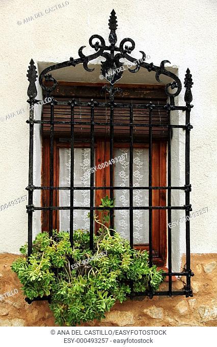 Detail of a window, Alarcon village, Cuenca province ,Castile La Mancha, Spain