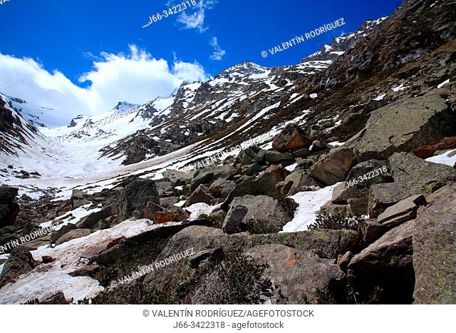 Landscape at the head of Valsavarenche valley. Glacier du Grand Etret. National park Gran Paradiso. Italy