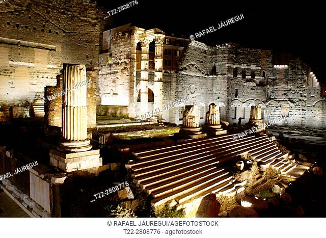 Rome (Italy). Night view and architectural detail in Trajan's Market in Rome