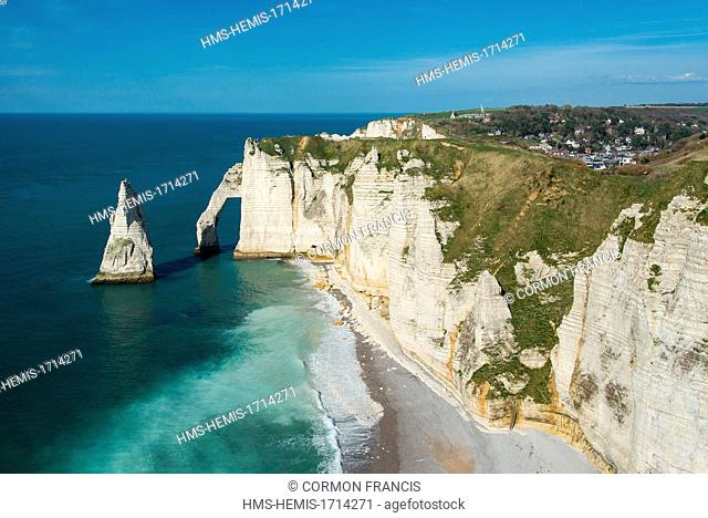 France, Seine Maritime, Etretat, Aiguille, the arch of Aval cliff