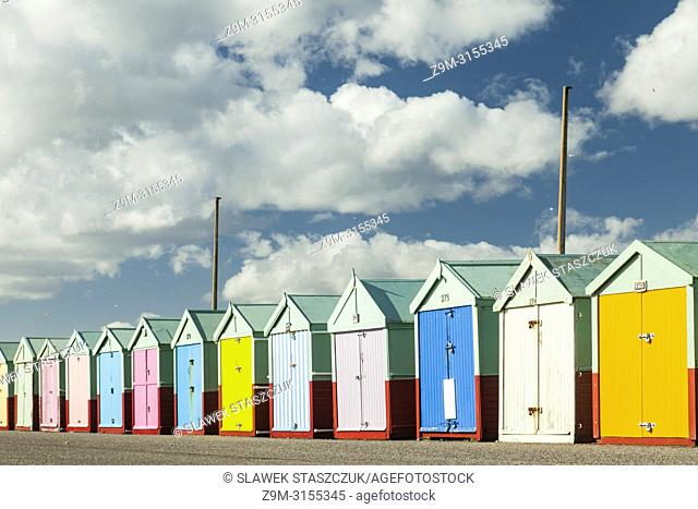 Colourful beach huts on Hove seafront, East Sussex, England