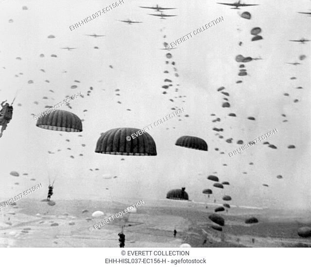 Allied aircraft drop paratroopers into German held Netherlands, for Operation Market Garden. The plan to capture key bridges in Netherlands failed with 15
