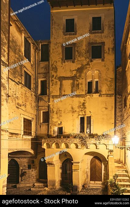 Terracina, Italy. Gothic Domus Of Piazza Cancelli In Night Illuminations