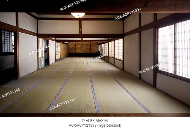 Traditional Japanese interior with tatami mats and painted shoji sliding screens in Sanbo-in, Sanboin, a Buddhist temple of Daigoji complex in Fushimi-ku, Kyoto